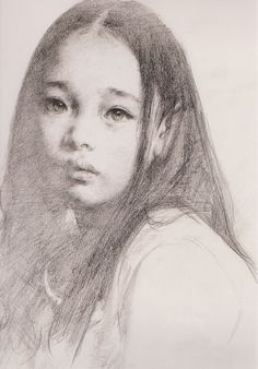 "艾軒 (Ai Xuan), ""Portrait of a Tibetan Girl"".  I know it's just her hair making her ear look pointy, but she looks like a little elf. :)"