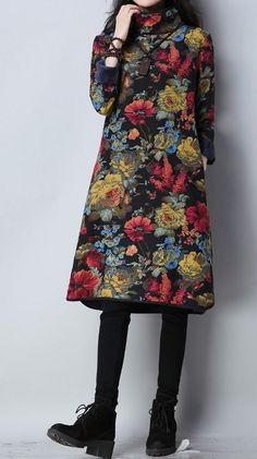 77510ce920d91 Women loose fit flower pocket long sleeve dress large size casual winter  chic  unbranded