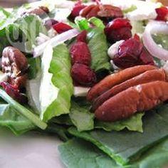 Salade met cranberry, geroosterde pecannoten en een frambozen-mosterd dressing @ allrecipes.nl