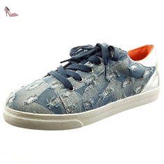 Sopily - Chaussure Mode Baskets Slip-On Cheville femmes Brillant Lignes Talon bloc 2 CM - Bleu - FRF-6-Q2016 T 40 - Chaussures sopily (*Partner-Link)