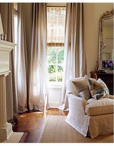 Brownstone Or Blue Dawn Drapes With Grass Clothe Or Tan