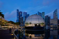 Foster + Partners unwraps spherical Apple Marina Bay Sands store Hotel Marina Bay Sands, Sands Hotel, Video Wall, Dubai Mall, Shading Device, Dome Structure, Floating Lanterns, Foster Partners, Centre Commercial