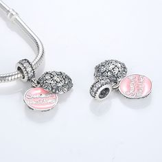 925 Sterling Silver Bead Beloved Infinity Heart Anchor Pink Crystal Micro-pave Pendant Fit Original Pandora Bracelets Diy Charms High Safety Beads & Jewelry Making