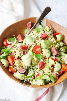 Vegetable and Millet Salad with Lemon Garlic Dressing