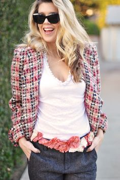 Spring tweed jacket and the floral belt. Amazing