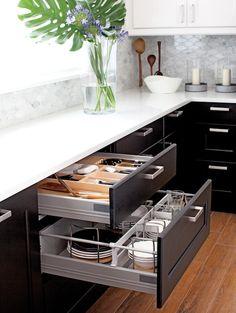 Chatelaine - kitchens - Ikea Ramsjo, IKea Tyda Handle, white quartz kitchen countertops, carrara marble backsplash,ikea drawer inserts, rationell drawer inserts