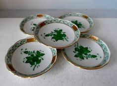 """5 HEREND PORCELAIN Chinese Bouquet Green BUTTER PAT PLATES 3.25"""""""