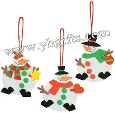 9PCS/LOT.Red white & Green Snowman ornament craft kit,Early educational toy.Model building kits.Kids toys.Children crafts.