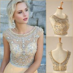 Cheap sell 2015 hot models diamond crop champagne top and Floor Length elegant Halter Chiffon Prom Dress real photos plus size-in Prom Dresses from Weddings & Events on Aliexpress.com | Alibaba Group