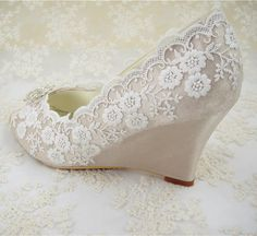 Wedding Shoes Peeptoe Bridal Shoes Rhinestone Wedge by laceNbling