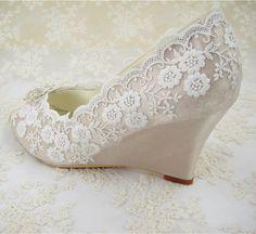 Wedding Shoes Peeptoe Bridal Shoes Rhinestone Wedge by laceNbling