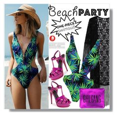 """Beach Party: One Piece"" by queenvirgo ❤ liked on Polyvore featuring Topshop and Yves Saint Laurent"