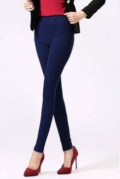 กางเกงเลคกิ้ง แฟชั่นเกาหลีเอวสูงสวยใส่สบายมีกระเป๋า นำเข้า สีน้ำเงิน - พร้อมส่งTJ7146 ราคา670บาท