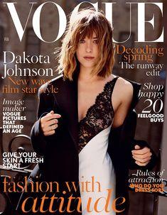 Dakota Johnson wears slip dress and oversized coat on Vogue UK February 2016 cover shoot