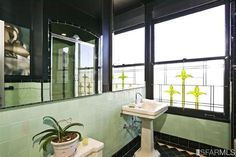 cool art deco bathroom. 2170 Vallejo street #302 in Pac Heights. 1 BR 1 BA condo for $855k.