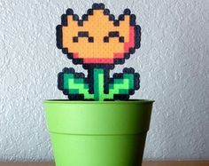 Super Mario Perler Bead Fire Flower in Pot