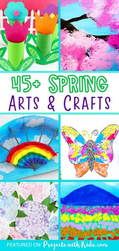 Welcome spring with over 45 gorgeous spring art projects for kids. Ideas for older kids and tweens as well as younger kids and preschoolers. Click to find colorful spring crafts kids of all ages will love! Spring Arts And Crafts, Spring Art Projects, Clay Art Projects, Craft Projects For Kids, Easy Crafts For Kids, Summer Crafts, Frog Crafts, Bee Crafts, Art Activities For Kids