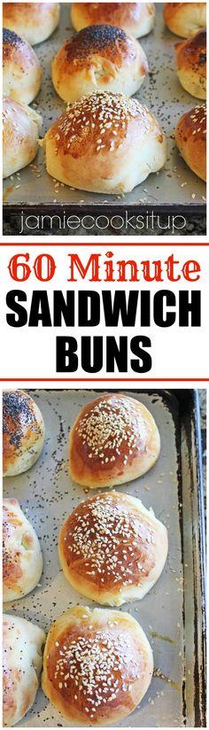 60 Minute Sandwich Buns from Jamie Cooks It U!