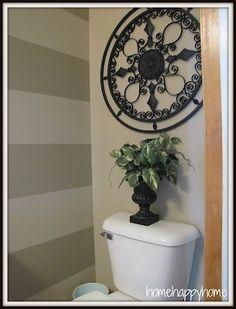 striped powder room by erika