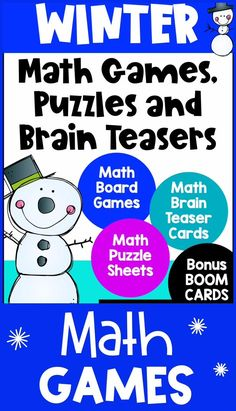 This collection of Winter math activities is loaded with printable games, puzzle worksheets, brain teasers and two digital decks of Winter math Boom Cards that can be used on a computer, laptop, tablet or iPad making them ideal for the classroom or distance learning. Perfect for January or February math activities. Suggested for first, second or third grade. Covers lots of different math skills including addition, subtraction, multiplication, division, place value, 1, 10, 100 more or less. Math Board Games, Math Boards, Math Games, Teaching Resources, Teaching Ideas, Math Sheets, Fun Math Activities, Homeschool Math, Computer Laptop