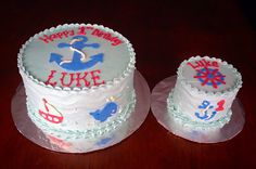First birthday nautical buttercream cake smash cake