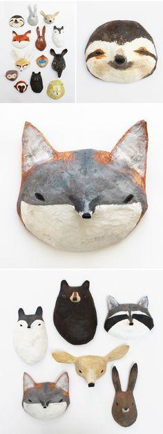 abigail brown - paper mache masks Maschere di cartapesta per giocare con i nostri bambini!