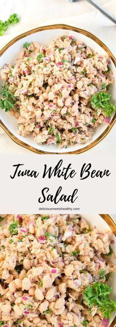Tuna White Bean Salad Tuna White Bean Salad via Delicious Meets Healthy White Bean Recipes, Bean Salad Recipes, Bean Salads, Shrimp Salad Recipes, Beans Recipes, Healthy Meals To Cook, Good Healthy Recipes, Healthy Eating, Quick Recipes