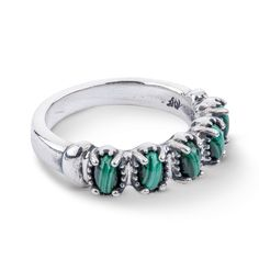 This sterling silver classic is the perfect addition to your jewelry box! Five oval cabochons of stunning malachite sit in the center of a highly polished, slender but substantial ringt. Perfect for stacking, but beautiful enough for its' own dazzling look, this band ring is perfect for your western