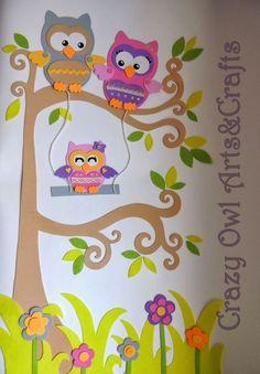 Mural de familia de búhos para decoración hecho en goma Eva y fieltro para decoración de habitación de bebe