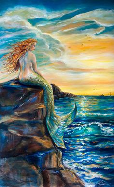 Mermaids Ocean Sea:  #Mermaid ~ New Smyrna Inlet Painting, by Linda Olsen.