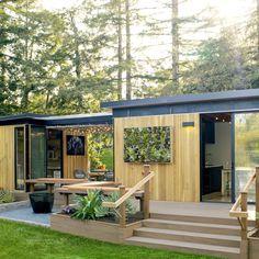 two prefab units connected by a breezeway  Flexible modern prefab - Favorite Backyard Sheds  - Sunset