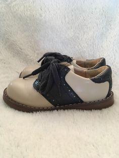f258af34f2e7 Footmates Toddler Saddle Shoes size 7.5 Cream Navy Med Wide