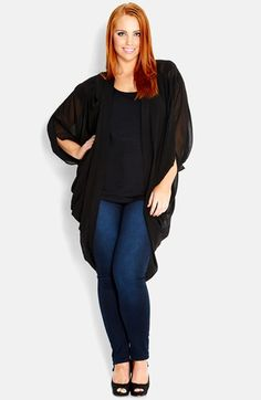 City Chic 'Kimono' Chiffon Jacket (Plus Size) available at #Nordstrom