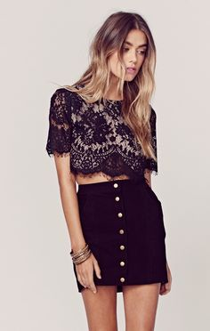 The Jetset Diaries Black Lace Crop Top #lace