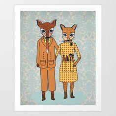 Fantastic Fox Couple Art Print by Andrea Lauren - $16.00