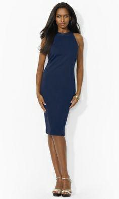 Leather-Trim Sleeveless Dress - Lauren Short Dresses - RalphLauren.com