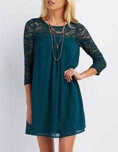 Lace Yoke Shift Dress  #CharlotteLook