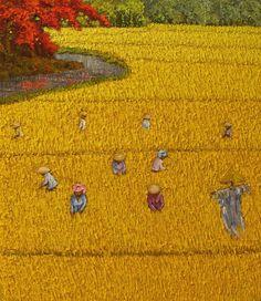 "Saatchi Online Artist: Sunarto Srimartha; Oil, 2011, Painting ""Harvest 11"""