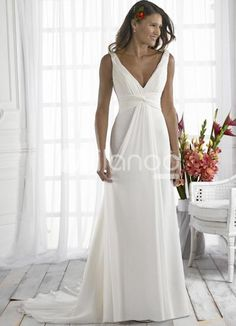 Elegant Sheath V-Neck Empire Waist Chiffon Wedding Dress For Bride  Item Code:#08160019149
