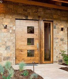 Contemporary Front Door with Modern Custom Exterior Door, Glass panel door, exterior tile floors, Pathway