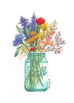 Colorful summer flower bouquet watercolor by artist Drew Deming. Some garden flowers, a Ball jar, and some water and you have instant sunshine in your home. Watercolor Cards, Watercolor Print, Watercolor Flowers, Watercolor Paintings, Flowers In Jars, Lake Art, Spring Painting, Nymphs, Colorful Drawings