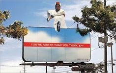 You have surely seen over the years a lot of Nike ads: in TV commercials, magazine ads, or outdoor ads. We'll look at Nike's advertising campaigns. Print Advertising, Creative Advertising, Advertising Campaign, Marketing And Advertising, Funny Advertising, Marketing Viral, Sports Marketing, Guerilla Marketing, Street Marketing