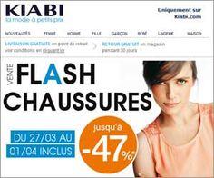 Vente flash Kiabi en exclu Web : jusqu'à -47% sur des chaussures pour femme + rappels des 3 codes promotionnels | Maxi Bons Plans