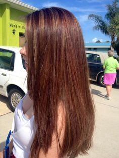 Golden and auburn highlights over honey brown hair