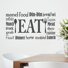 Kitchen Wall  Decal Eat Sign Lettering with spoon and fork subway art collage wordle 20x36 Vinyl Sticker words on Etsy, $42.33 CAD