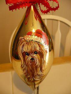 Handpainted Yorkie Christmas Ornament Bulb Home Decoration Dog Misspaintsalot