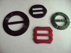 Lot of 4 Art Deco 1920s Bakelite and Catalin Plastic by TFSloan, $22.00 Not Buttons, but buckles are fun too