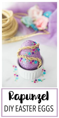 This Disney Princess Inspired DIY Easter Egg is a fun Disney princess craft centered around Rapunzel! Makes a great Easter basket gift or Easter craft idea! Princess Crafts Kids, Disney Crafts For Kids, Disney Diy, Easter Crafts For Kids, Diy For Kids, Disney Stuff, Easter Gift Baskets, Basket Gift, Free Chunky Knitting Patterns