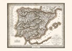 MAP of SPAIN and PORTUGAL Map of Spain by EncorePrintSociety