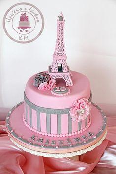 Paris Birthday Cakes, Paris Themed Cakes, Paris Birthday Parties, Paris Party, 10th Birthday, Spa Birthday, Bolo Paris, Cake Paris, Parisian Cake